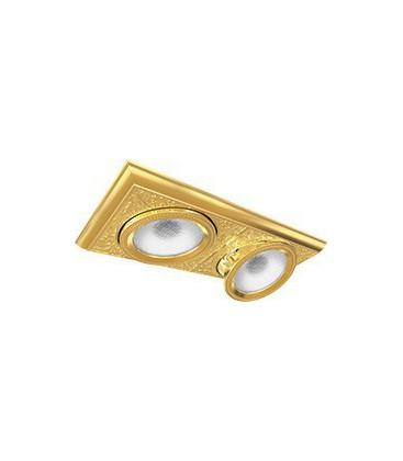 Прямоугольный двойной встраиваемый точечный светильник из латуни, FEDE коллекция EMPORIO MODULAR II, блестящее золото