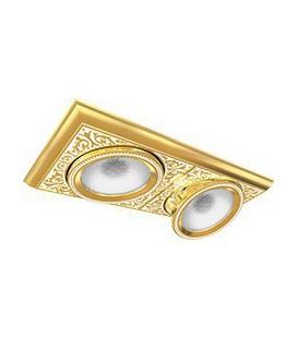 Прямоугольный двойной встраиваемый точечный светильник из латуни, FEDE коллекция EMPORIO MODULAR II, золото с белой патиной