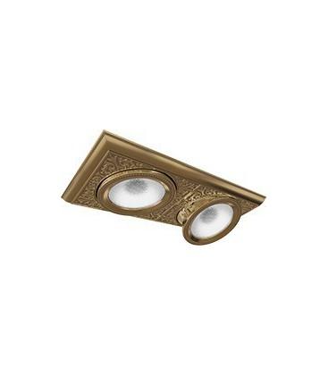 Прямоугольный двойной встраиваемый точечный светильник из латуни, FEDE коллекция EMPORIO MODULAR II, патина