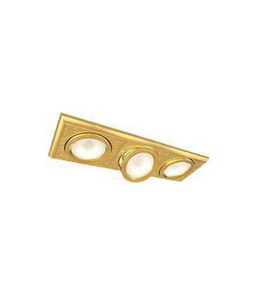 Прямоугольный тройной встраиваемый точечный светильник из латуни, FEDE коллекция EMPORIO MODULAR III, блестящее золото