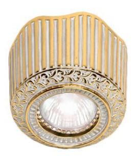 Накладной точечный светильник из латуни, FEDE коллекция San Sebastian Surface, золото с белой патиной
