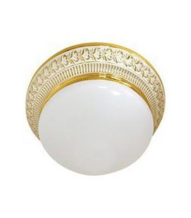 Накладной точечный светильник из латуни с матовым плафоном (на 2 лампы), FEDE коллекция BILBAO II, золото с белой патиной