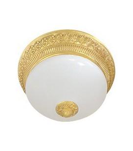 Накладной светильник из латуни с матовым плафоном (на 2 лампы), FEDE коллекция BILBAO II DECO, блестящее золото