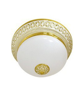 Накладной светильник из латуни с матовым плафоном (на 2 лампы), FEDE коллекция BILBAO II DECO, золото с белой патиной