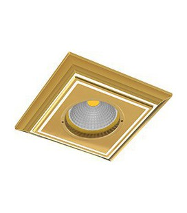 Квадратный встраиваемый точечный светильник из латуни, FEDE коллекция PADOVA, золото с белой патиной