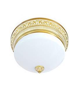 Накладной точечный светильник из латуни с плафоном (на 3 лампы), FEDE коллекция EMPORIO III DECO, золото с белой патиной