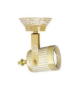 Накладной поворотный светильник из латуни с патроном GU10, FEDE коллекция VIENNA, золото с белой патиной