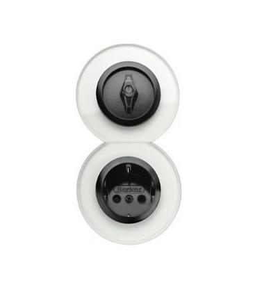 Выключатель и Розетка в сборе Glasserie, прозрачный/черный