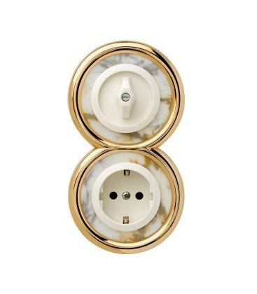 Выключатель и Розетка в сборе Berker серии Palazzo, мрамор белый
