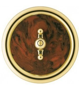 Выключатель в сборе Berker серии Palazzo, коричневый под корень ореха