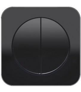 Выключатель 2-х клавишный в сборе Berker серии R.1, стекло черный