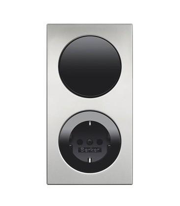 Выключатель и Розетка в сборе Berker серии R.3, алюминий/черный