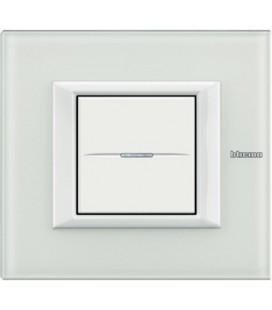 Выключатель в сборе Bticino серии Axolute (прямоугл. формы), White Glass