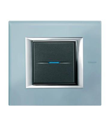 Выключатель в сборе Bticino серии Axolute (прямоугл. формы), Голубое стекло