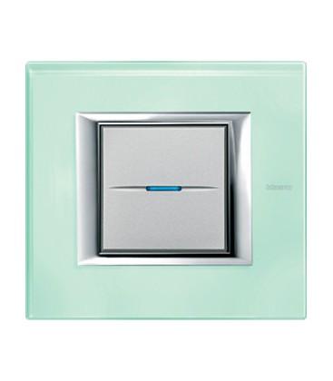 Выключатель в сборе Bticino серии Axolute (прямоугл. формы), Матовое стекло