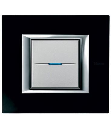 Выключатель в сборе Bticino серии Axolute (прямоугл. формы), Черное стекло