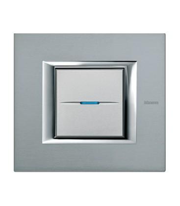 Выключатель в сборе Bticino серии Axolute (прямоугл. формы), Темное серебро