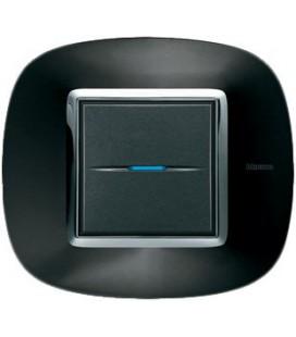 Выключатель в сборе Bticino серии Axolute (овальной формы), Темный металлик
