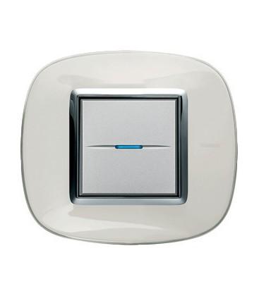Выключатель в сборе Bticino серии Axolute (овальной формы), Белая карамель