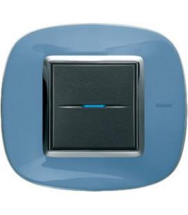 Выключатель в сборе Bticino серии Axolute (овальной формы), Голубая карамель