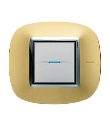 Выключатель в сборе Bticino серии Axolute (овальной формы), Золото матовое