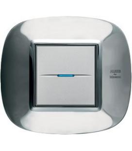 Выключатель в сборе Bticino серии Axolute (овальной формы), Ледяная сталь Alessi