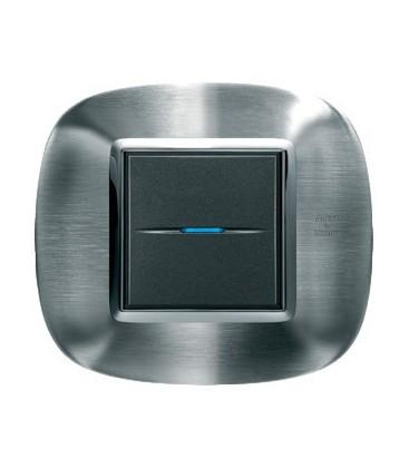 Выключатель в сборе Bticino серии Axolute (овальной формы), Фактурная сталь Alessi