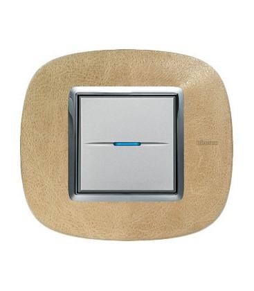 Выключатель в сборе Bticino серии Axolute (овальной формы), Кожа Песок