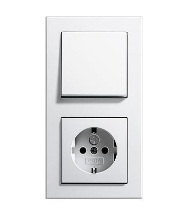 Выключатель и Розетка в сборе GIRA серии E2, белый
