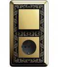 Выключатель и Розетка в сборе GIRA серии ClassiX Art, латунь-черный