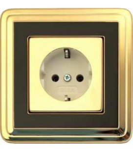 Розетка в сборе GIRA серии ClassiX, латунь-черный