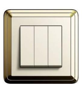 Выключатель 3-х клавишный в сборе GIRA серии ClassiX, латунь-кремовый
