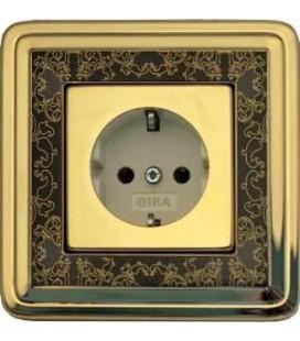 Розетка в сборе GIRA серии ClassiX Art, латунь-черный