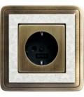 Розетка в сборе GIRA серии ClassiX Art, бронза-кремовый
