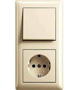 Выключатель и Розетка в сборе GIRA серии Standart 55, глянцевый кремовый