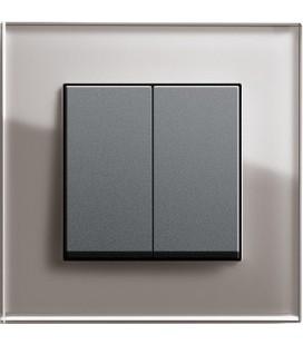 Выключатель 2-х кл. в сборе GIRA серии Esprit, дымчатое стекло