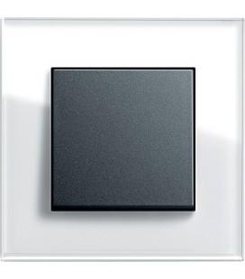 Выключатель в сборе GIRA серии Esprit, белое стекло