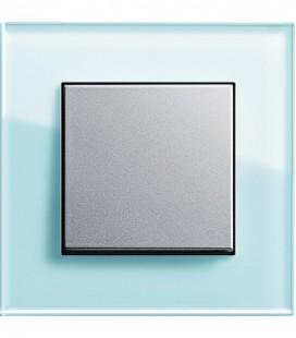 Выключатель в сборе GIRA серии Esprit, салатовое стекло/алюминий