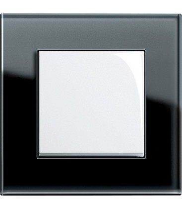 Выключатель в сборе GIRA серии Esprit, черное стекло