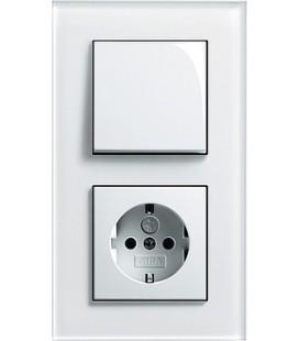 Выключатель и Розетка в сборе GIRA серии Esprit, белое стекло