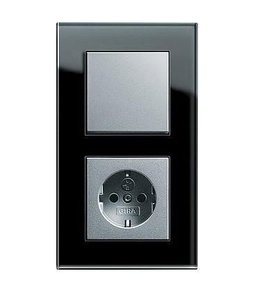 Выключатель и Розетка в сборе GIRA серии Esprit, черное стекло