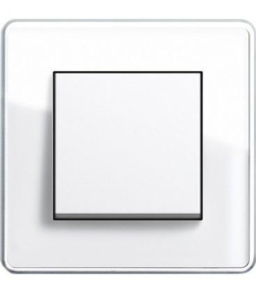 Выключатель в сборе GIRA серии Esprit Glass C, белое стекло