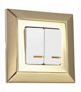 Выключатель 2-х клавишный в сборе FEDE коллекция Barcelona, Bright Gold