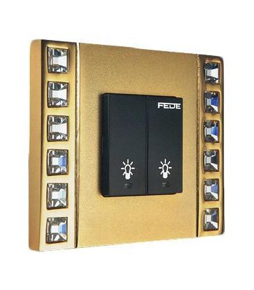 Двухклавишный выключатель в сборе FEDE коллекция Crystal De Luxe DECOR, Real Gold