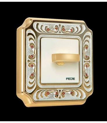 Поворотный выключатель в сборе FEDE коллекция Crystal De Luxe PALACE, Gold White Patina
