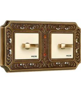 2-х клавишный поворотный выключатель в сборе FEDE коллекция Crystal De Luxe PALACE, Bright Patina