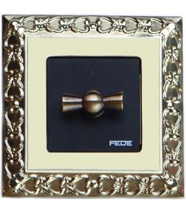 Поворотный выключатель в сборе FEDE коллекция San Sebastian, Bright Gold