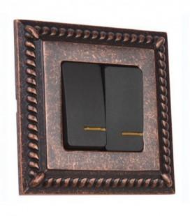 2-х клавишный выключатель в сборе FEDE коллекция Sevilla, Rustic Cooper