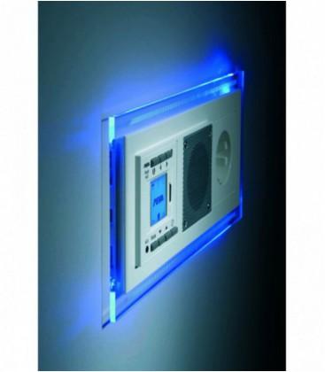 Рамка тройная PEHA Nova с голубой подсветкой, алюминий