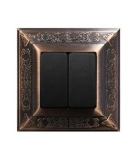 2-х клавишный выключатель в сборе FEDE коллекция Granada, Rustic Copper